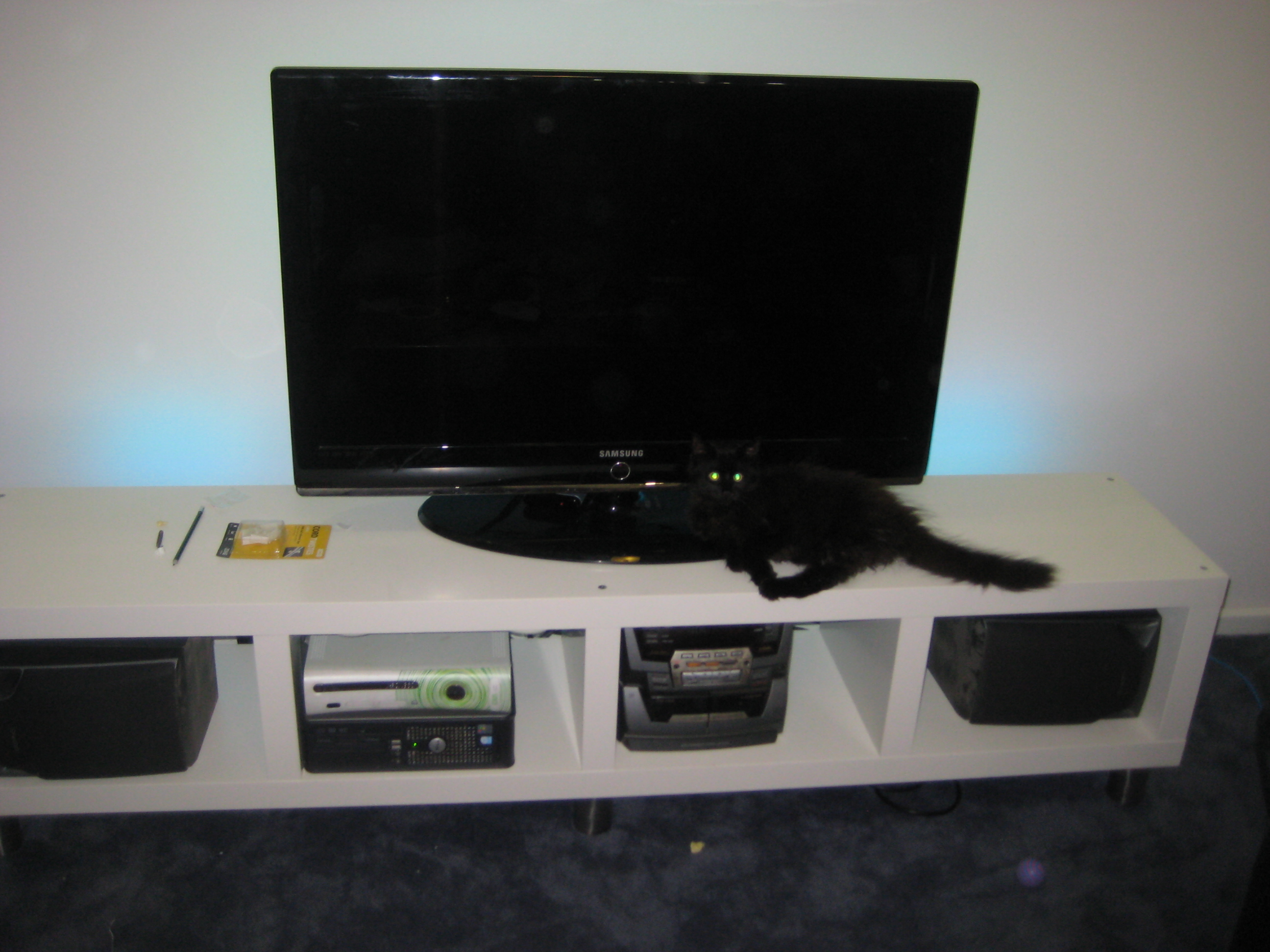Cheap Ikea LACK Bookcase into an Entertainment center. | Marc ...